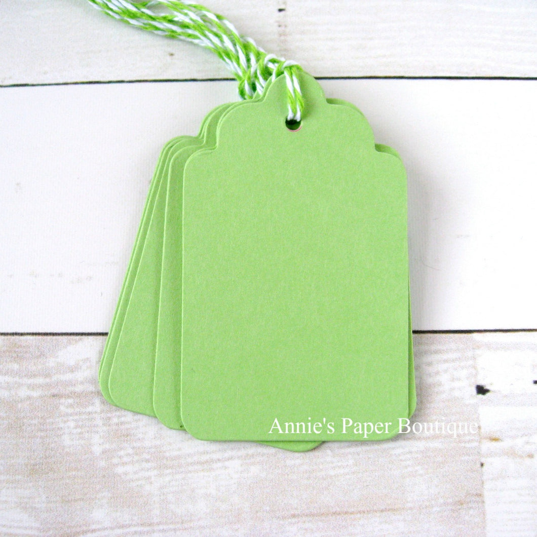 Spring Green Scallop Tags with Limeade Trendy Twine