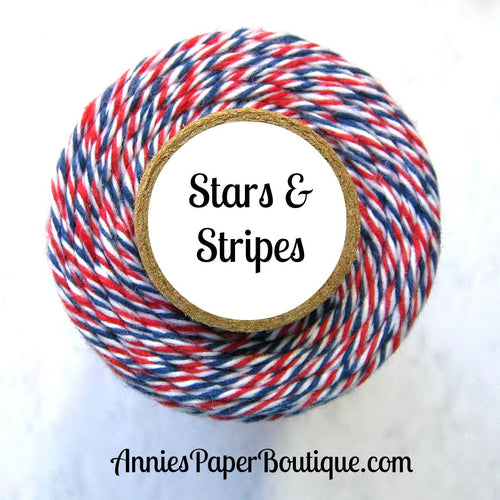 Stars & Stripes Trendy Bakers Twine - Red, White, & Navy Blue