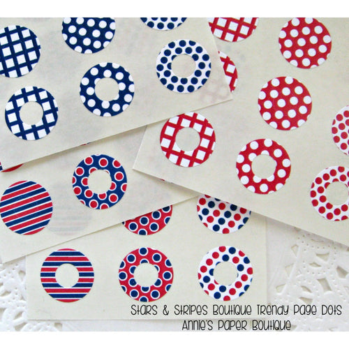 Stars & Stripes Trendy Page Dots, Navy and Red Reinforcements