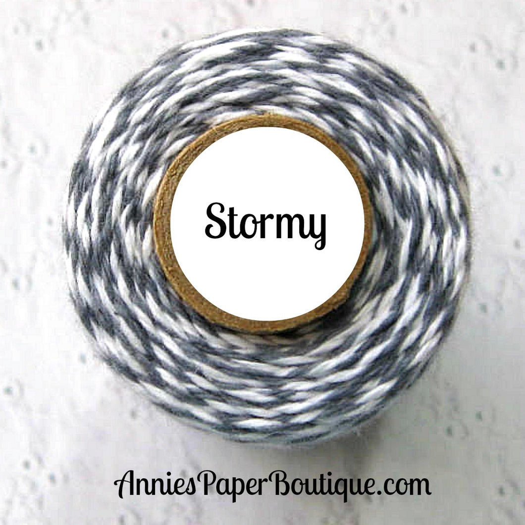 Stormy Trendy Bakers Twine - Gray & White - Grey