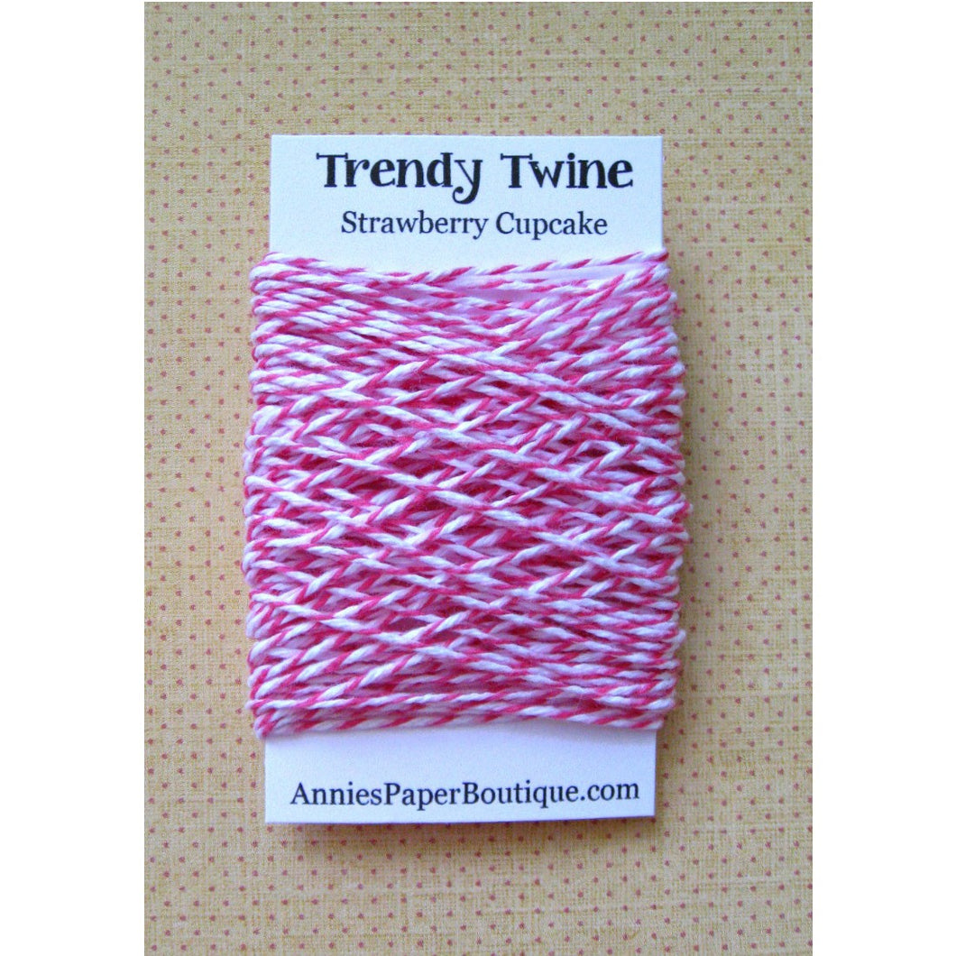 Strawberry Cupcake Trendy Bakers Twine Mini - Raspberry, Soft Pink, White