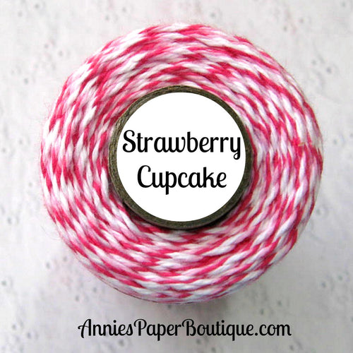 Strawberry Cupcake Trendy Bakers Twine - Raspberry, Soft Pink, & White