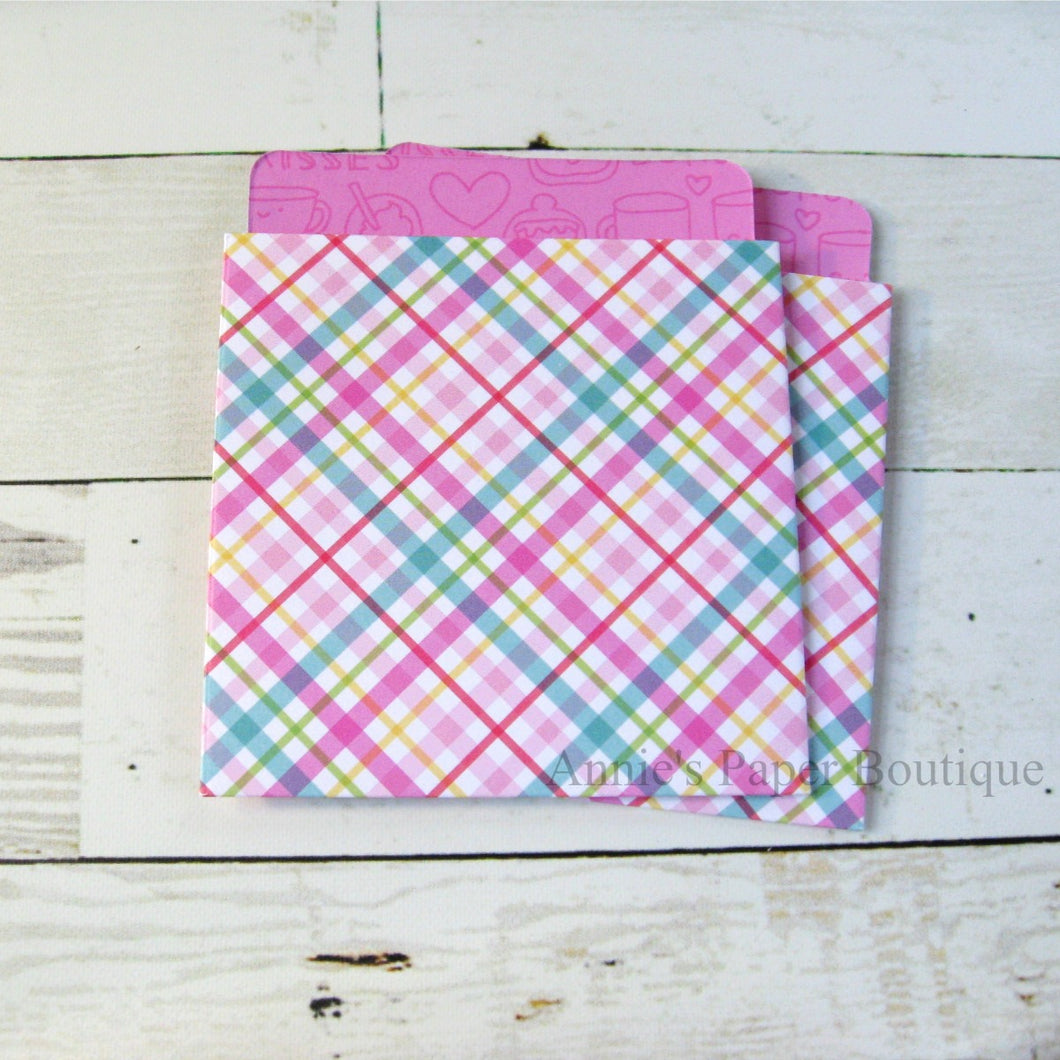 Sugar Plaid Library Pockets - 3-1/2
