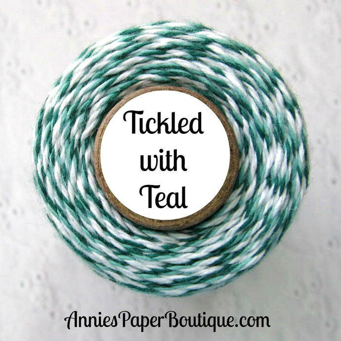 Tickled with Teal Trendy Bakers Twine - Dark Teal, Light Teal, & White