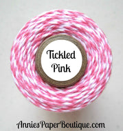 Tickled Pink Trendy Bakers Twine - Pink & White