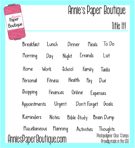 Title It Planner Stamps - 4x4 - Headers