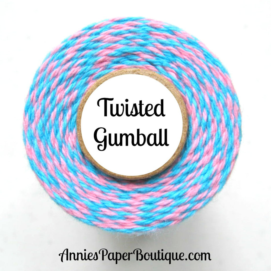 Twisted Gumball Trendy Bakers Twine - Aqua Blue & Pink