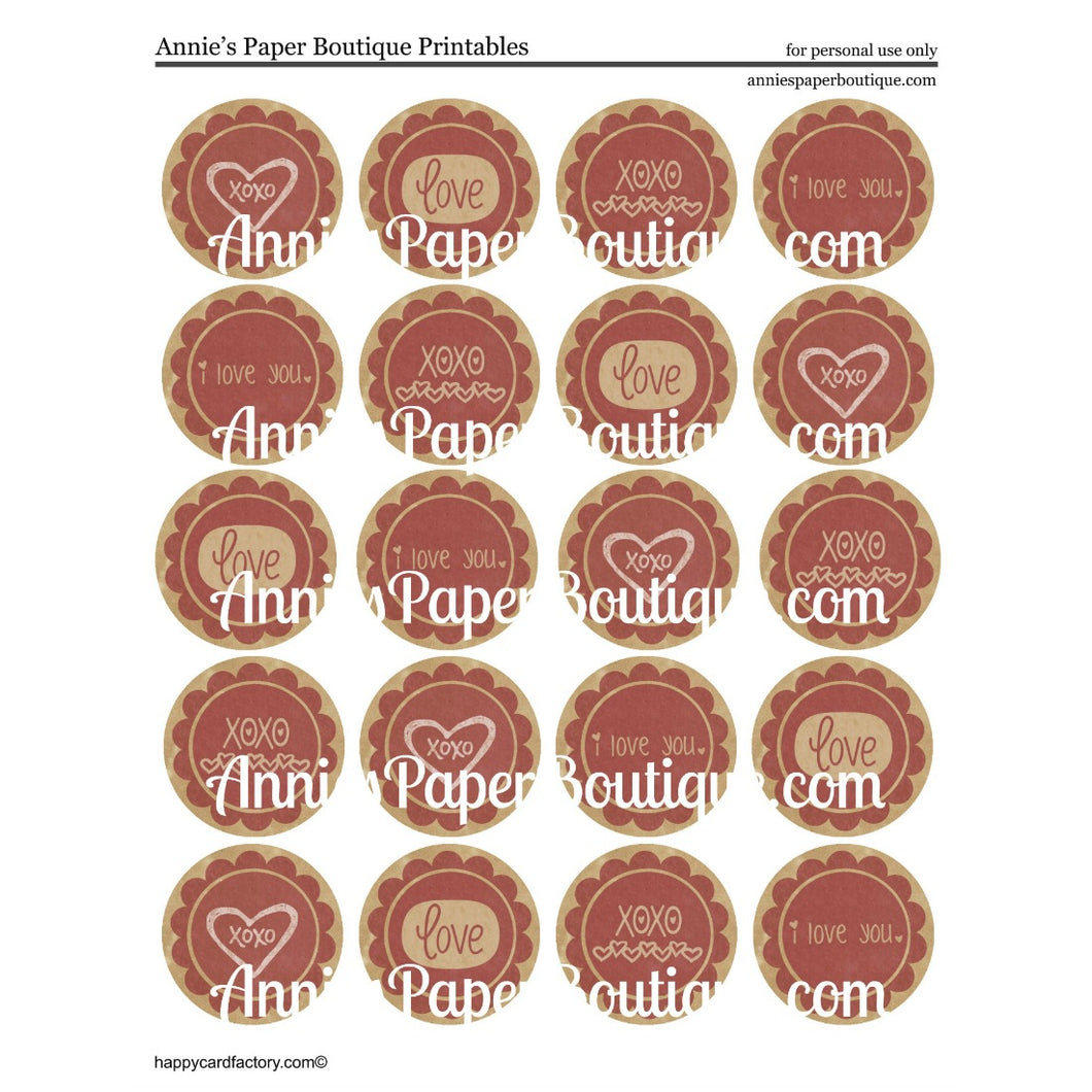 Vintage Love Print & Punch Tags - Red and Kraft