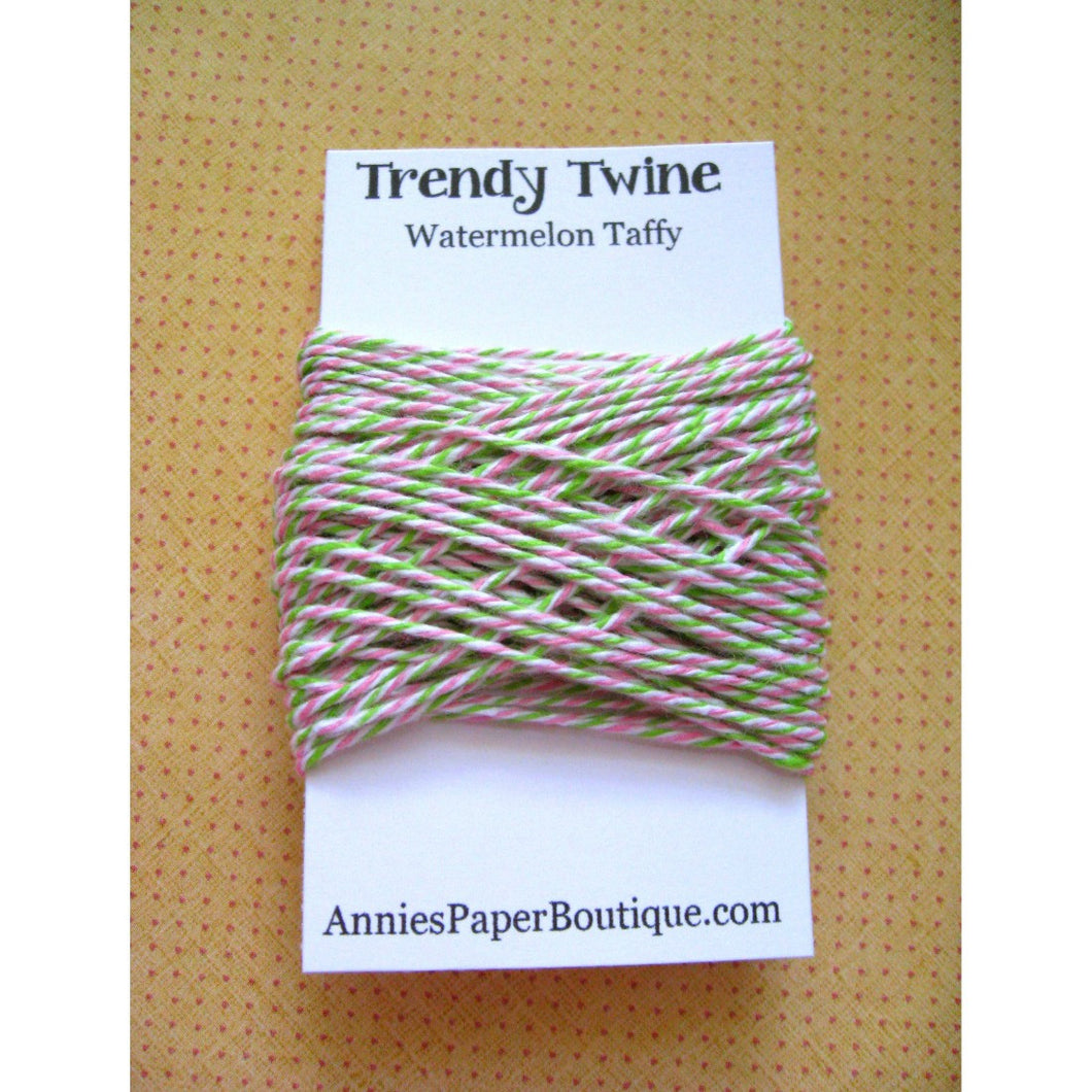 Watermelon Taffy Trendy Bakers Twine Mini - Lime Green, White, and Pink
