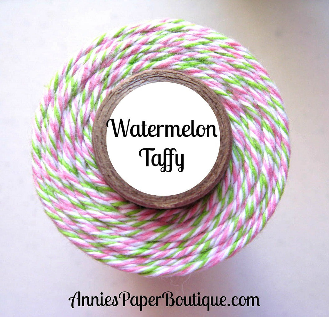 Watermelon Taffy Trendy Bakers Twine - Lime Green, White, & Pink