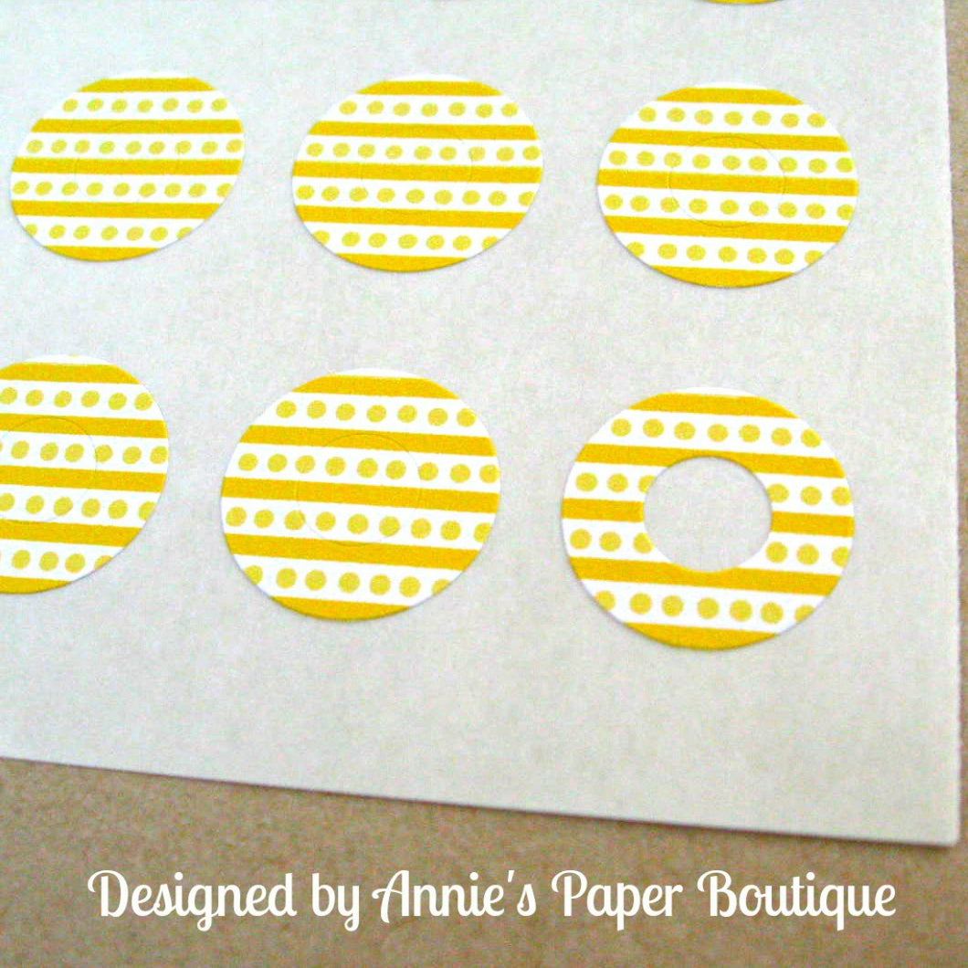 Yellow Stripes & Dots Trendy Page Dots™ - Circle Reinforcement Stickers