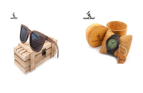 wood sunglasses and wood watch