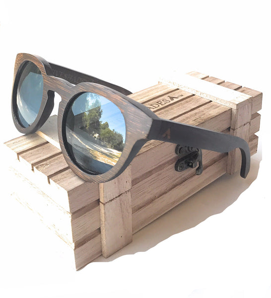 Native Shades Dark Round Frame Wood Sunglasses