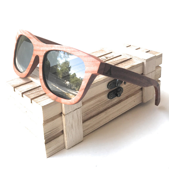 Native Shades Square Frame Walnut Wood Sunglasses