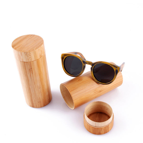 round frame wood and bamboo sunglasses