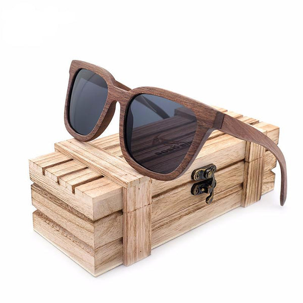 walnut wood frame sunglasses black lenses
