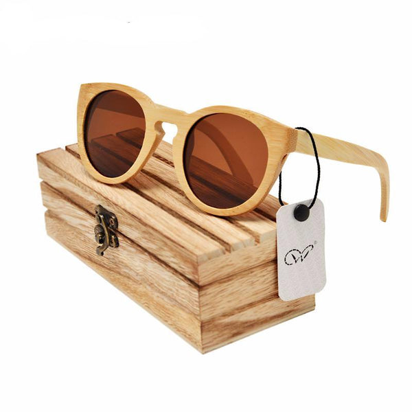 brown lenses wood and bamboo sunglasses polarized