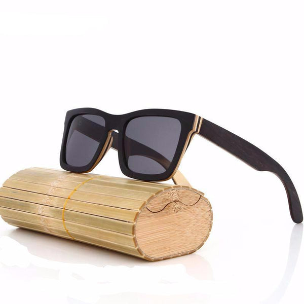 black frame wood and bamboo sunglasses