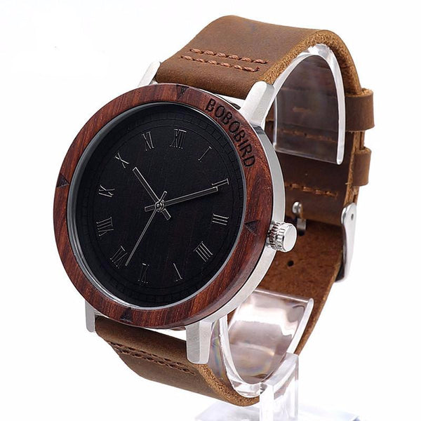 BOBO BIRD Men's K06 Roma Dial Brown Wooden Watch with Black Face and Leather Band