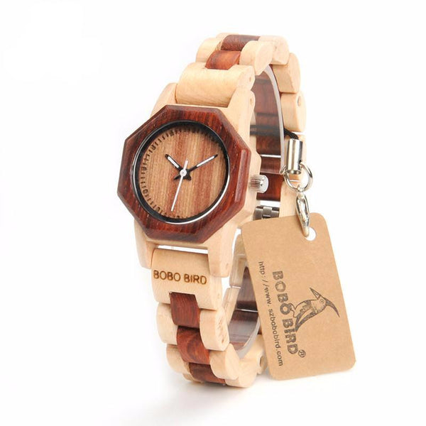BOBO BIRD Women's dark and light brown small slim wood watch