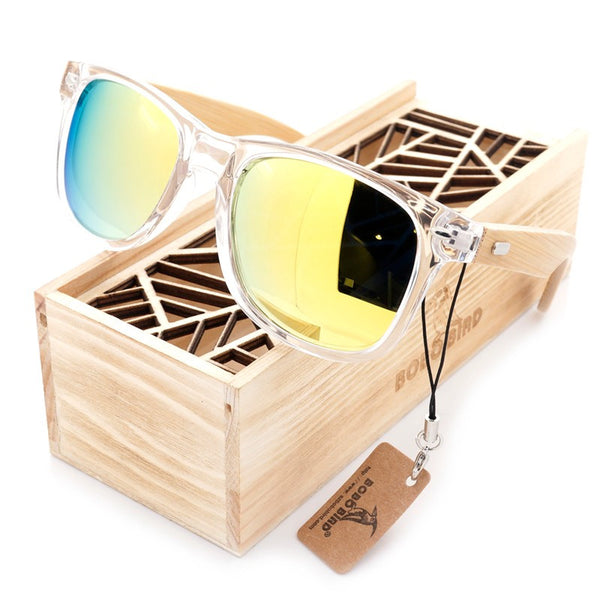 clear frame wood and bamboo sunglasses yellow lenses