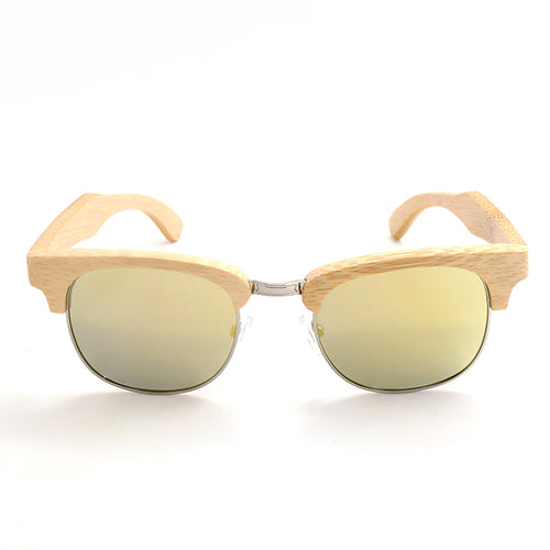 BOBO BIRD Vintage Style Yellow Semi Rimless Wood sunglasses