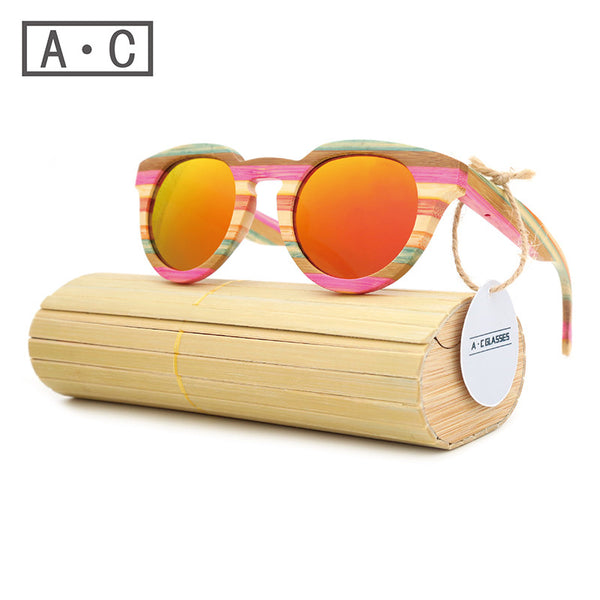 A.C. Pink striped wood sunglasses polarized lenses