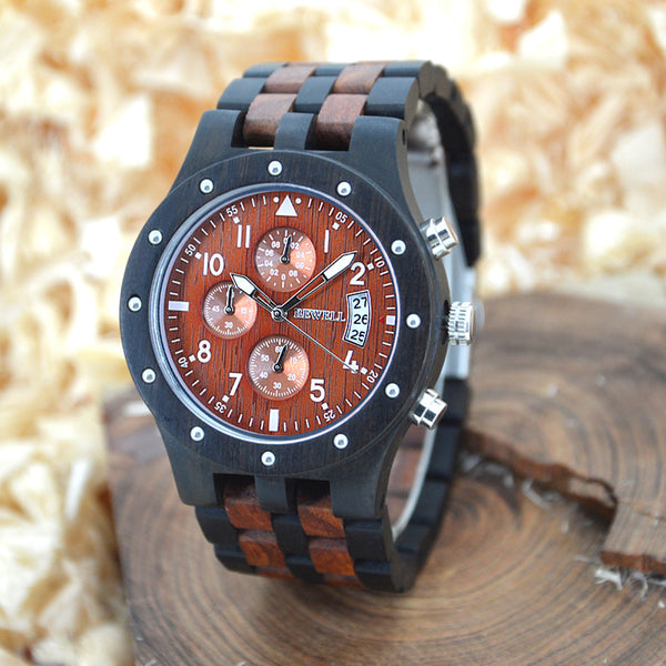 BEWELL Men Wooden Vintage Luxury watch brown and ebony
