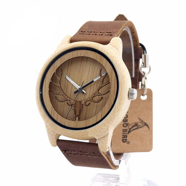 BOBO BIRD A27 Hollow Elk Head Wood Watch With Leather Band Unisex