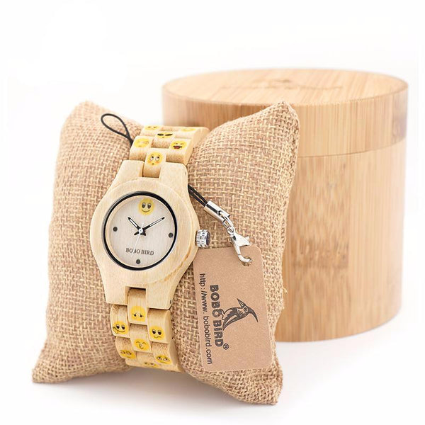 BOBO BIRD E/O06 Maple Women  Emoticon Wood Watch