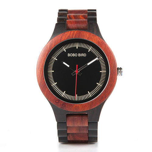 BOBO BIRD Men's  E/O01 Red Sandalwood Analog Wood Watch