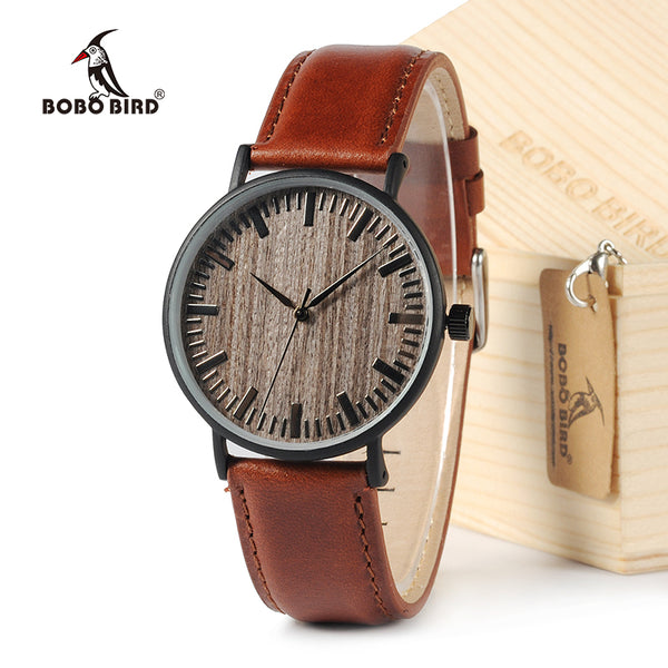 BOBO BIRD E25 Round Vintage Ebony Wood watch