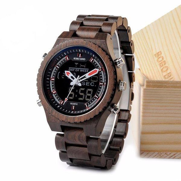 BOBO BIRD Multifunctional Wood Watch with Night Light and Week Display
