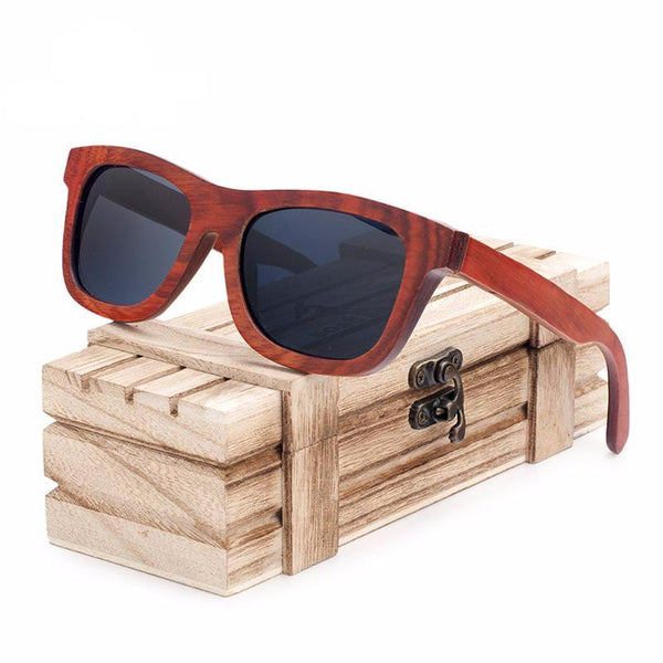 BOBO BIRD Square Frame Red Wood Sunglasses