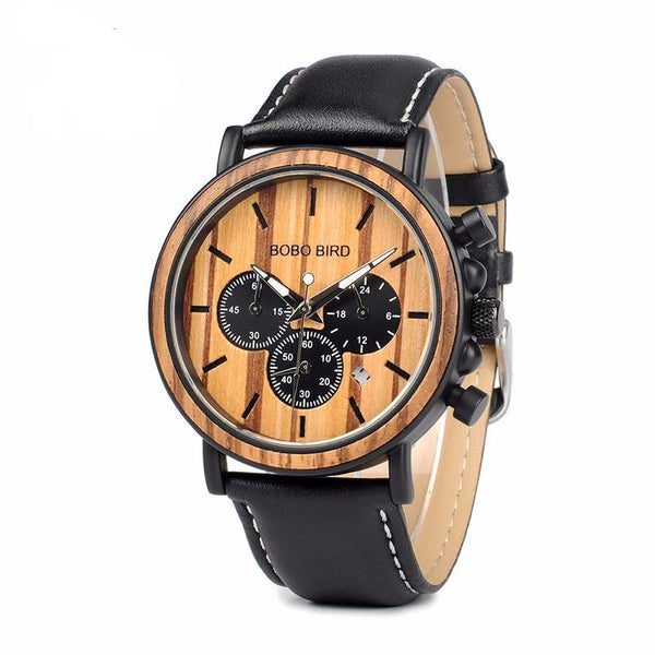 BOBO BIRD P092 Chronograph Wood Watch With Leather Band