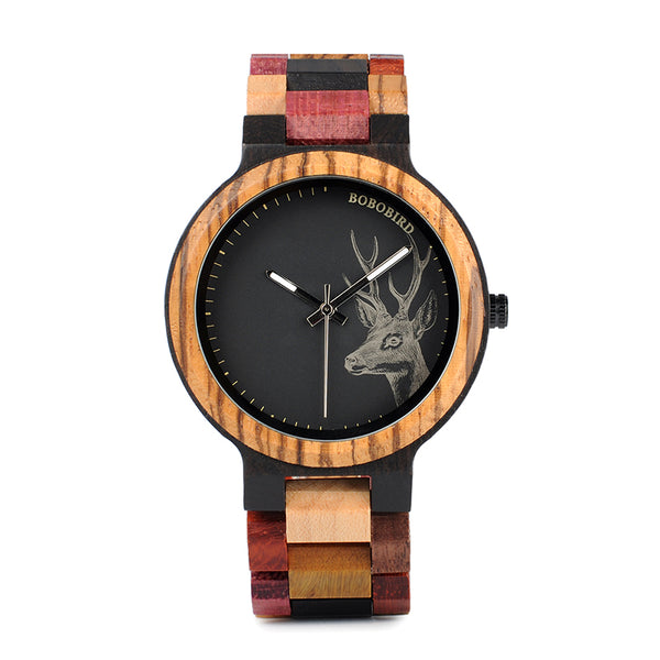 BOBO BIRD P14-2 Mixed Color Deer Wood Watch