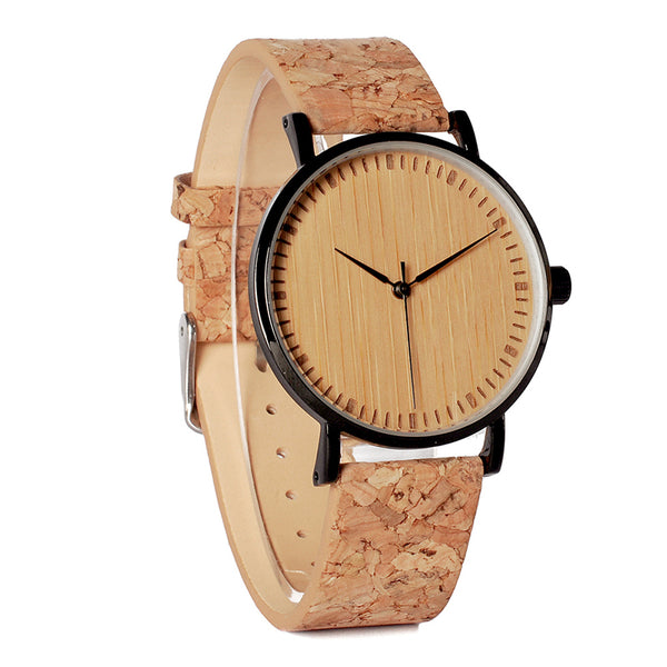 BOBO BIRD E19  Bamboo Watch With Cork Leather Band