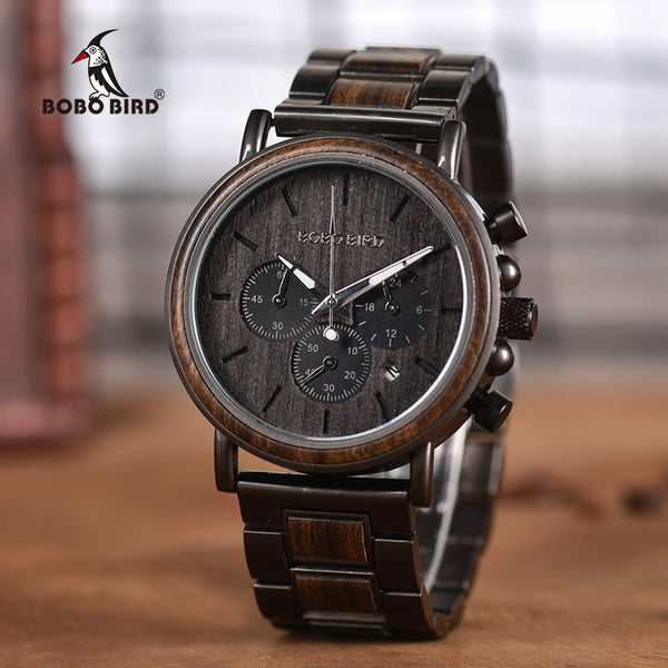 BOBO BIRD Chronograph Ebony Wood and Stainless Steel Watch