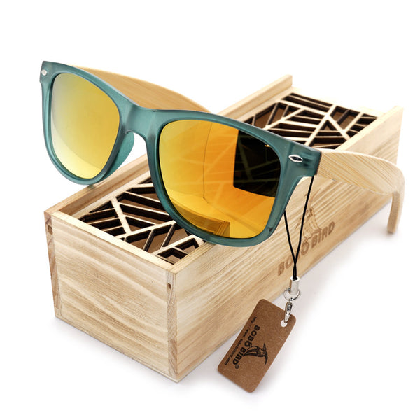 green frame yellow lenses wood and bamboo sunglasses