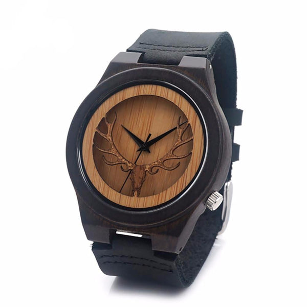 BOBO BIRD Men's Elk Head Wood Watch With Genuine Leather Band