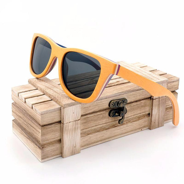 yellow frame wood and bamboo sunglasses black lenses