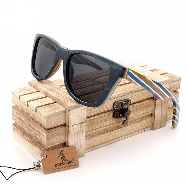 striped legs wood and bamboo sunglasses black lenses