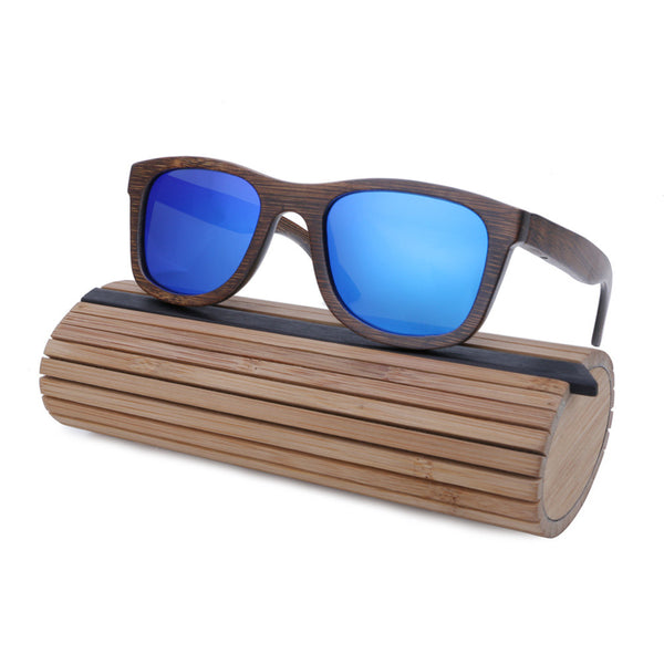 Blue lenses bamboo and wood sunglasses polarized