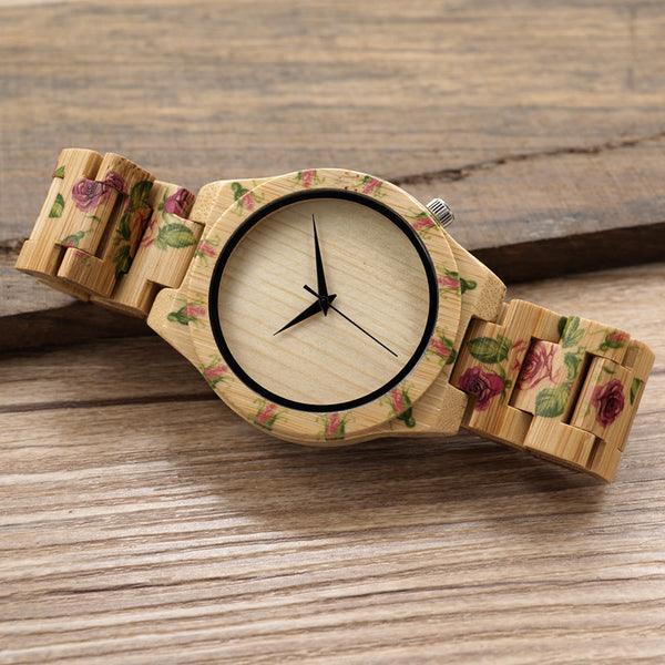 BOBO BIRD Women's UV Flower Design Bamboo Watch