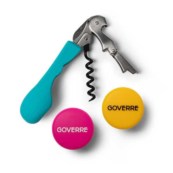 Corkscrew with its Ergonomic silicone handle in our GOVERRE signature Turquoise color feels great in the hand; the shape and material make it comfortable to use without risk of pain or fatigue.  The two wine bottle stopper caps provide airtight seal to any bottle of wine to preserve the taste. Each wine cap/stoppers features our GOVERRE logo and come in our classic colors Turquoise, Hot Pink, Grey and Yellow. They are made of 100-percent silicon and are kitchen and food grade safe.