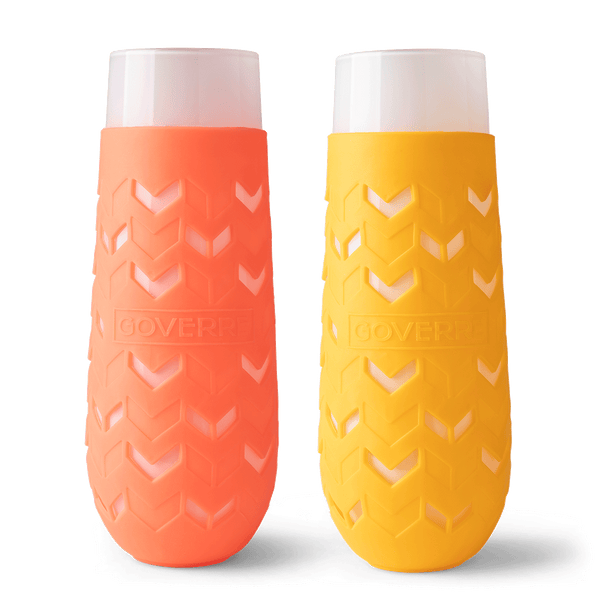 SET OF TWO CHAMPAGNE FLUTES (CORAL AND MANGO)