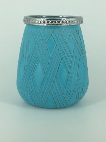 Teal/Silver Glass Diamond