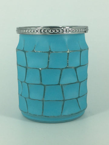 Teal/Silver Glass Block