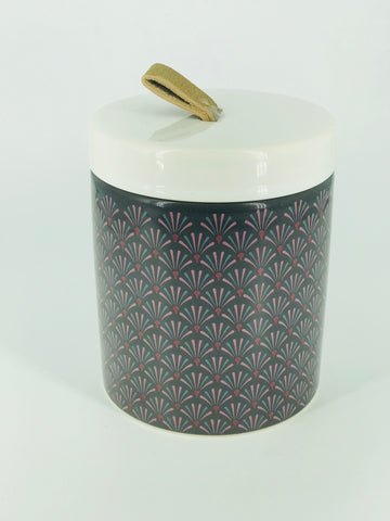 Grey Floral Ceramic Canister