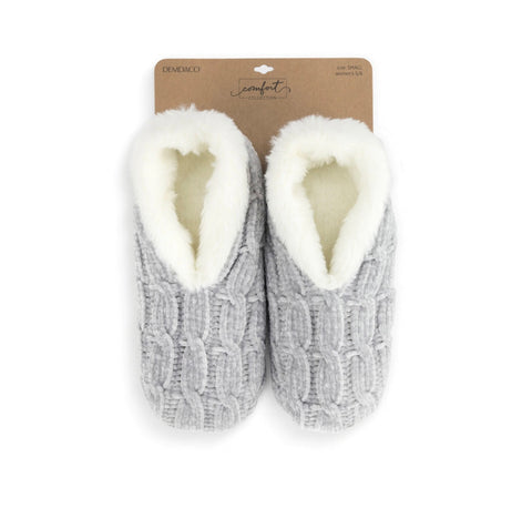 Large Grey Chenille Slippers